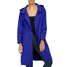 ACEVOG Women Raincoat Packable Front Button Rain Coat Hooded Rain Jacket