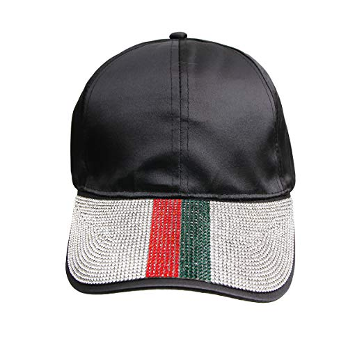 Vera New York Gucci Inspired Striped Rhinestone Black Satin Cap