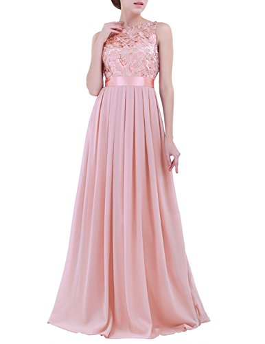dPois Women's Elegant Sleeveless Floral Lace Chiffon Wedding Bridesmaid Formal Long Evening Party Dress Pearl Pink 14(Bust: 41.0