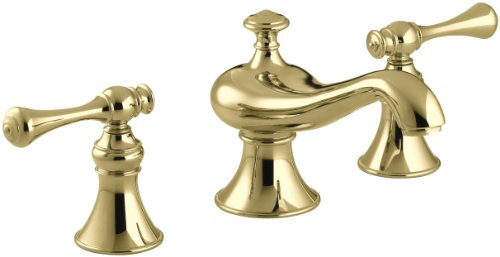 (KOHLER K-16102-4A-PB Revival Widespread Lavatory Faucet, Vibrant Polished Brass)