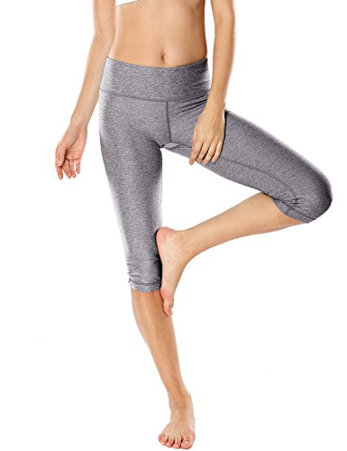 CRZ YOGA Women's Running Tights Workout Capris Cropped Yoga Pants with Pockets Heather Grey S (4-6) 6 Pocket Capris