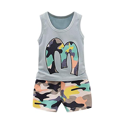 terbklf 2Pcs Toddler Baby Girls Boys Summer Cool Camouflage Vest Tops T Shirt Shorts Outfits Set Casual Wear Beach Wear ()