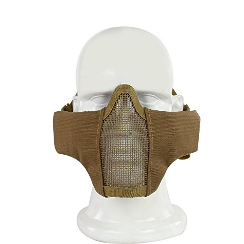 H World Shopping Tactical Equipment Paintball Strike Steel 2-Belts Version Half Face Mask for Airsoft Tan
