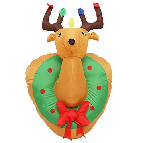Christmas Blow Up Decorations For Outdoors - 4 Foot Christmas Inflatable Airblown Reindeer Head Xmas Hanging Blow Up Decoration for Home Yard Garden Outdoor and Indoor