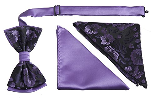 Adults Floral Two Toned Bow Tie with Two Matching Pocket Hankies, Boxed Sets - Ties Lavender Polyester