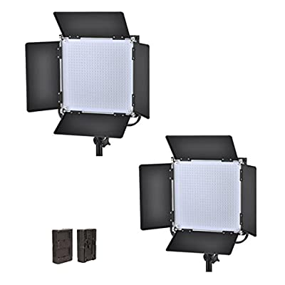ILED 660AS LED Bi-Color Studio Panel 2-Light Kit with V-Mount Plate and BarnDoors + F-V Adapter from Iled