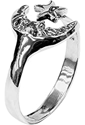Moon & Star Wrap - Sterling Silver Ring