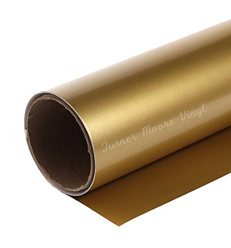 Gold Adhesive Vinyl Roll 12'' by 15 ft - for Cricut, Silhouette Cameo, Craft Cutters, and Vinyl Sign Cutters | StyleTech by Turner Moore (Gold) by Turner Moore Vinyl