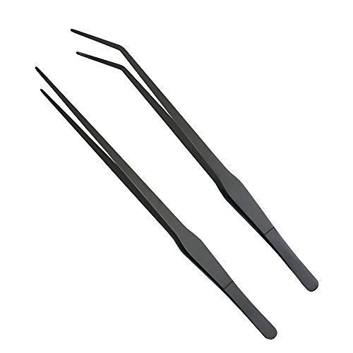 ONST 15 inch Long Tweezers Set Feeding Tongs Aquarium Stainless Steel Straight Curved Tweezer for Fish Tank Aquatic Plants (Black carbonation Protection Coating)
