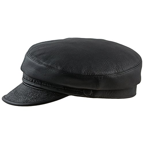 41ef034ea24 Sterkowski Genuine Leather Crinkled Bill Maciejówka Breton Style Cap