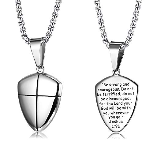 - LOYALLOOK Stainless Steel Shield of Faith Engraved Joshua 1:9b Armor of God Cross Pendant Necklace for Men