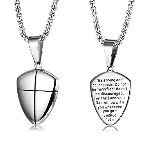 LOYALLOOK Stainless Steel Shield of Faith Engraved Joshua 1:9b Armor of God Cross Pendant Necklace for Men
