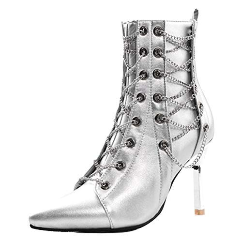Latasa Women's Chains Pointed-Toe High Heel Dress Booties (10, Silver) ()