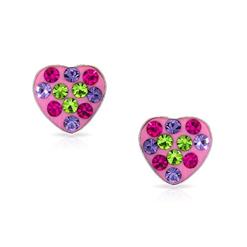 rt Earrings Never Rust 925 Sterling Silver Natural and Hypoallergenic Studs For Women and Girls with Free Breathtaking Gift Box for Special Moments of Love By BLING BIJOUX (Multi Color Crystal Heart Earrings)
