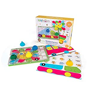 Lalaboom BL710 – Developmental Pegboard Bead Game 21 Piece Set– Match, Design, Pop, and Play — Montessori Method STEM Focus – Dishwasher Safe - Ages 18 Months - 4 Years