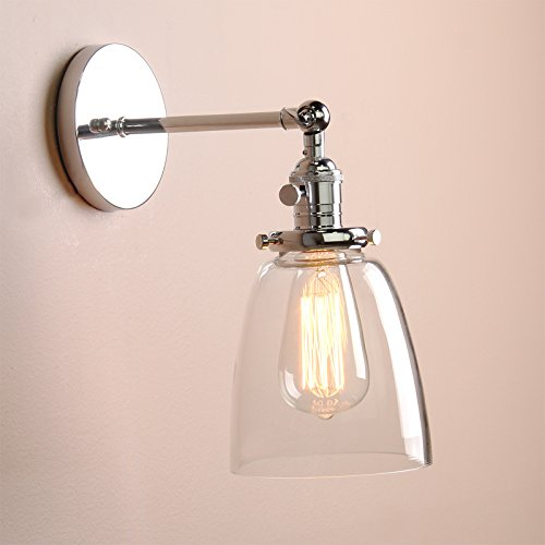 Permo Industrial Vintage Single Sconce With Oval Cone Clear Glass Shade 1-light Wall Sconce Wall Lamp (Chrome)