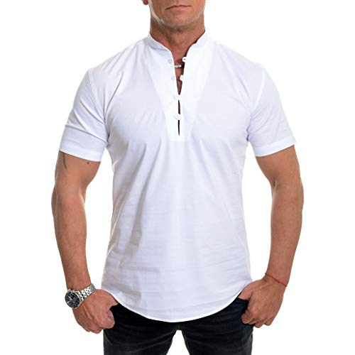 PENGY Blouse Men's Short Sleeve Shirt Smart Grandad Collar Loops Cotton White Black Blouse ()