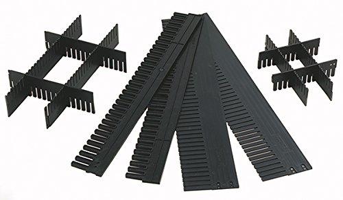 10 Stk. Trennkamm/Gefachteiler/Steckleiste, 1150mm lang, 90 mm hoch, individuell zuschneidbar, aus PP, anthrazit/schwarz, made in Germany ILOBOX