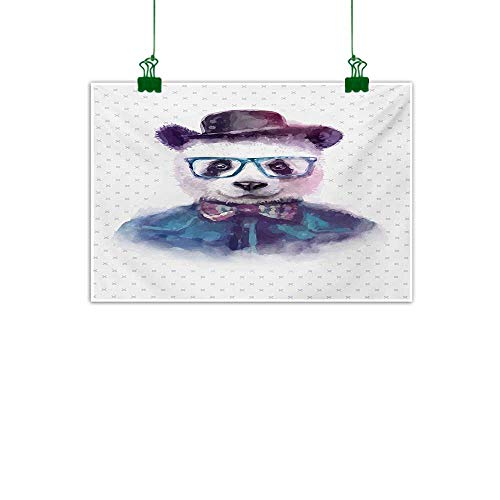 Anzhutwelve Funny,Canvas Print Modern Painting Vintage Hipster Panda with Bow Tie Dickie Hat Horn Rimmed Glasses Watercolor Style Canvas Painting Wall Art Black Blue W 47