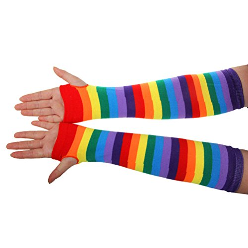 LUOEM Rainbow Tutu Skirt Suit Cosplay Costume with Headband Arm Warmer Leg Stocking Ruffle Tiered Tutus Dress For Kids Girls Carnival Party by LUOEM (Image #3)