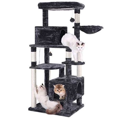 (BEWISHOME Multi-Level Cat Tree Condo with Sisal Scratching Posts, 2 Condos, Plush Perch, Jingly Balls and Basket, Cat Tower Furniture Kitty Kitten Activity Center Pet Play House Grey MMJ09B)