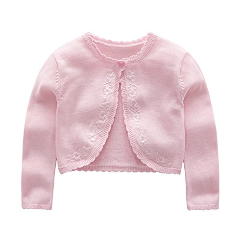(ZPW Baby Toddler Girls' Long Sleeve Floral Embroidered Knit Cardigan Shrug Pink )