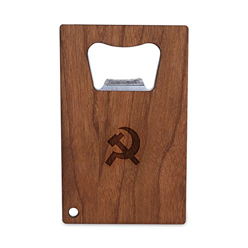 WOODEN ACCESSORIES COMPANY Credit Card Sized Bottle Opener With Laser Engraved Communist Design- Stainless Steel Bottle Opener With Wooden Front Panel - Slim And Wallet Size