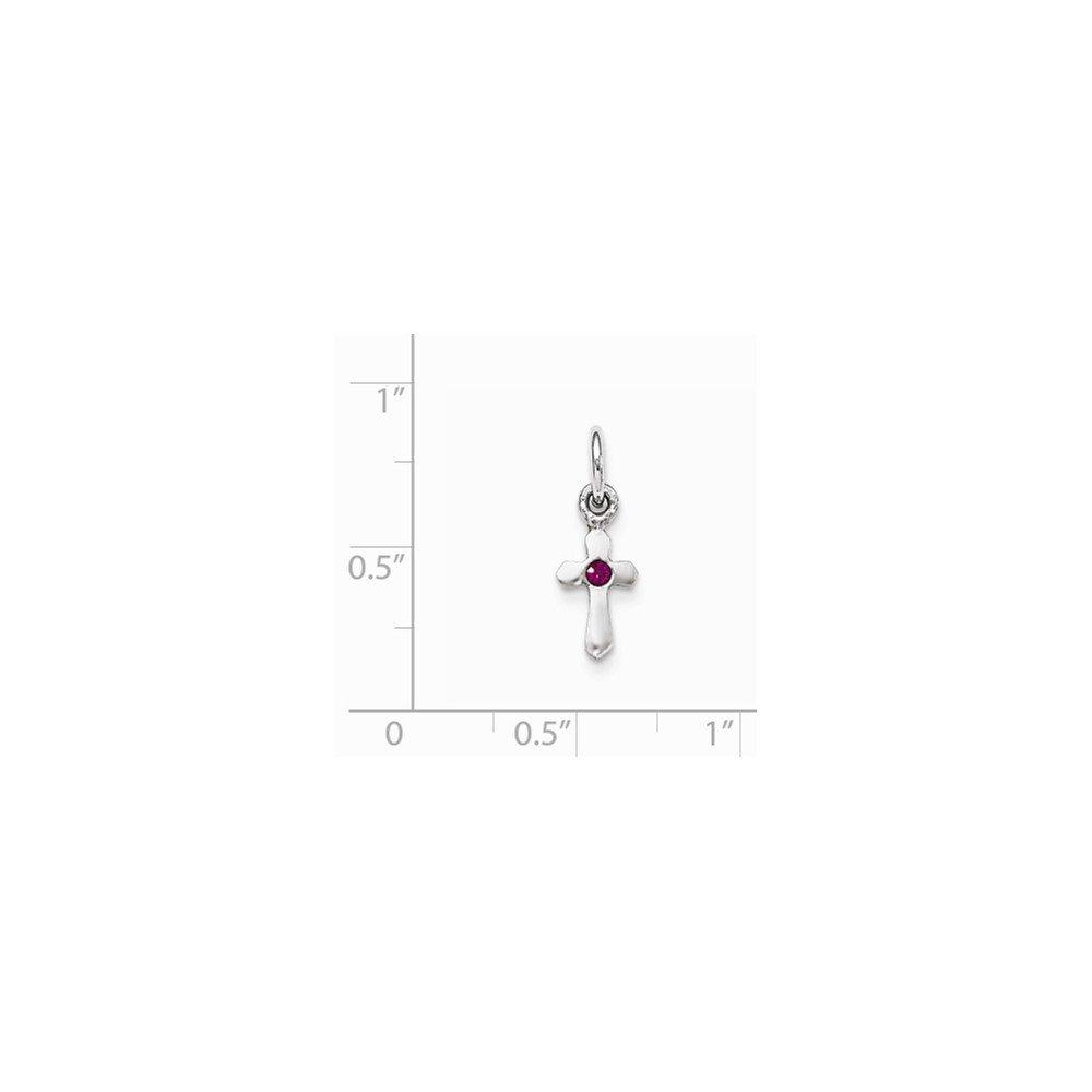 Jewel Tie Sterling Silver RH Plated Childs Preciosca Crystal July Cross Pendant