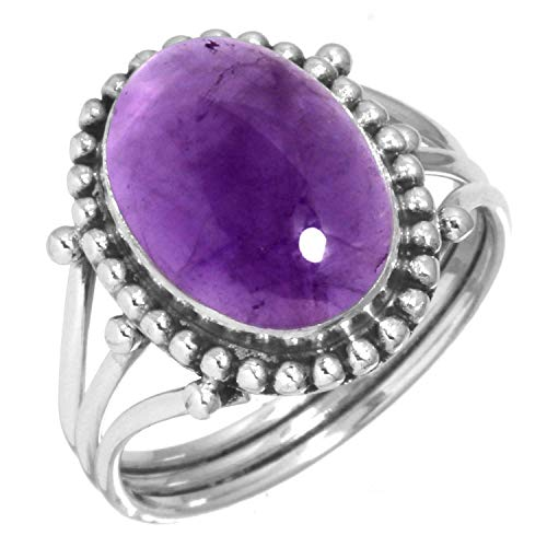 - 925 Sterling Silver Ring Natural Amethyst Handmade Jewelry Size 5.5