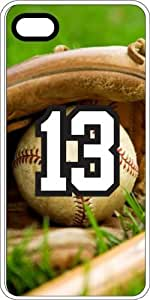 Baseball Sports Fan Player Number 13 White Rubber Decorative iPhone 5/5s Case