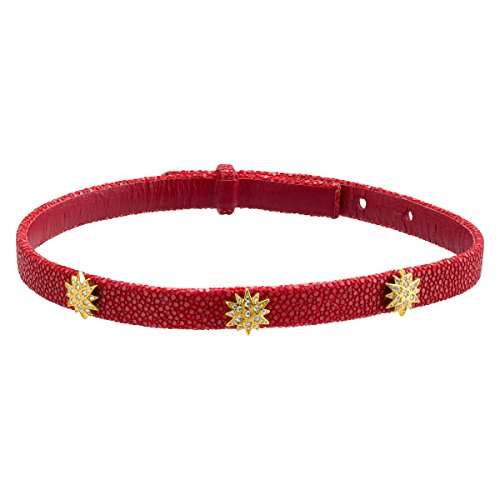 Cristina Sabatini Radiant Choker, Cubic Zirconia, Genuine Red Python Leather in 18K Gold-Plated Sterling Silver, 15