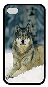 iPhone 4S Case and Cover -Wolf Laying On Snow Silicone Rubber Case Cover for iPhone 4 and iPhone 4s¡§CBlack