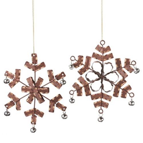 (Midwest Gloves Urban Nature Chocolate Brown Crimped Gold Glitter and Silver Jingle Bell Accented Snowflake Ornament 6.5