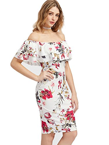 Floerns Women's Floral Ruffle Off Shoulder Party Sexy Bodycon Dress Large Multocolor-Red (Bra Slip Commando)