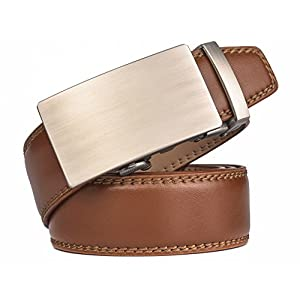 "Fire Kirin Men's Leather Ratchet Dress Belt- Length is Adjustable - Delicate Gift Box (Waist Size:26-36"", Tan strap&Silver Buckle 02)"