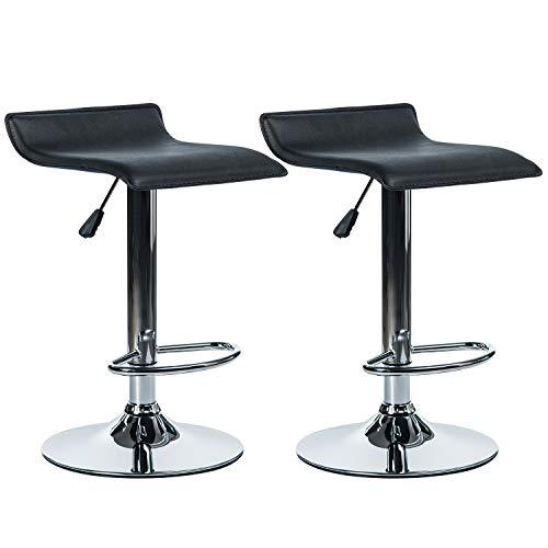 Swivel Stool Set - VON RACER PU Leather Bar Stools Set of 2 - Adjustable Height 360 Degree Swivel Barstools Modern Pub Counter Chair, Black