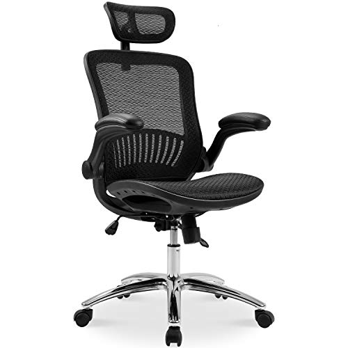 MOOSENG Ergonomic Mesh Home Desk Office Chair and Plating Base/Headrest Height Adjustable/Breathable Material/Tilt Locking Mechanism, Black