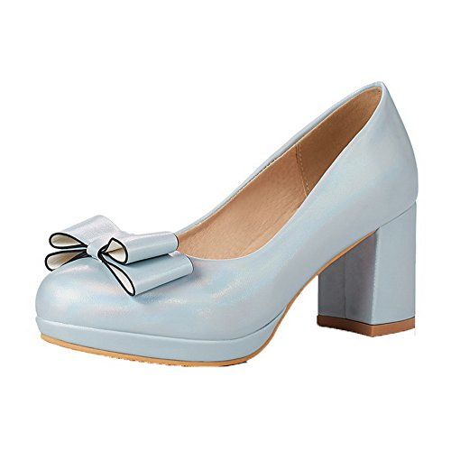 newest 4c88f 3826e De Pu Tsmdh003238 Zapatos Tacón Puntera Cordones Mujeres Redonda Tacón Sin  Aalardom Azul Medio Hwzqza