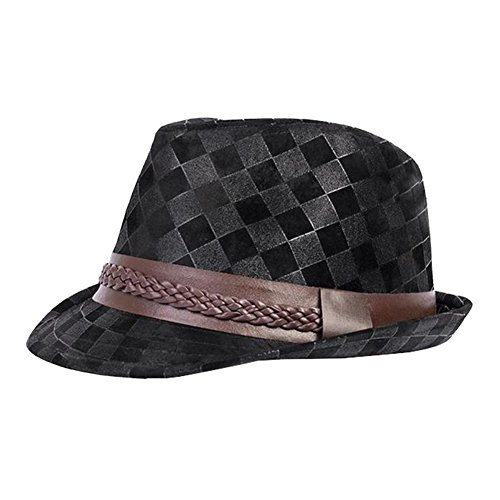 Bramble Chic Unisex Men Women Bowler Panama Belt Outdoor Gangster Homburg Sun Jazz Hats (Black)