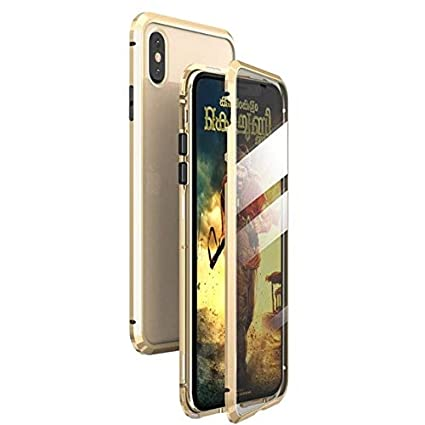 Magnetic Case for iPhone X XS MAX 7 8 Plus Coque Metal Phone Fundas Cover Double Sided Tempered Glass 360 Full Protective Carcasa (iPhone 8,Gold)