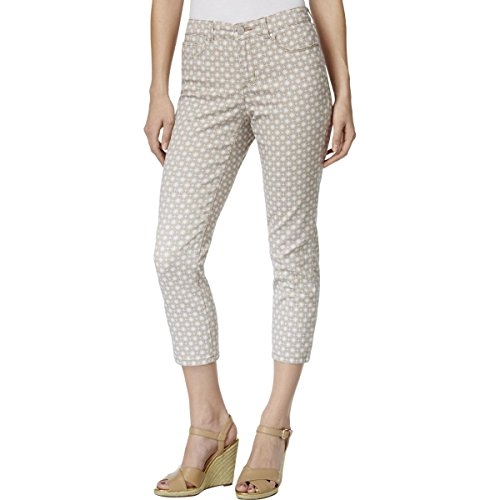 Charter Club Womens Printed High Waist Capri Jeans Tan 10