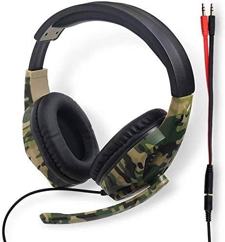 HNSYDS ゲーミングヘッドセットヘッドセット有線ヘッドセットコンピュータヘッドセットデュアルオーディオ音質のクリアは2つの色が選択でき聴覚障害軽減調整可能 ゲーミングヘッドセット (Color : Camouflage)
