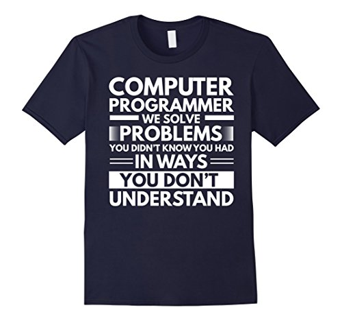 Mens Computer Programmer Funny Gift T-Shirt Large Navy