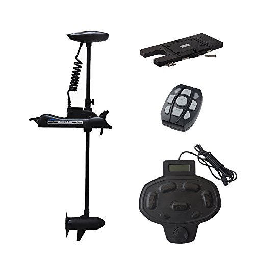 Aquos Haswing 12v 55lbs Bow Mount Electric Trolling Motor Bow Mount Motor with Foot Control with Quick Release Bracket/ Quick Mounted Plate ... (black) - Trolling Motor Mounts For Kayaks