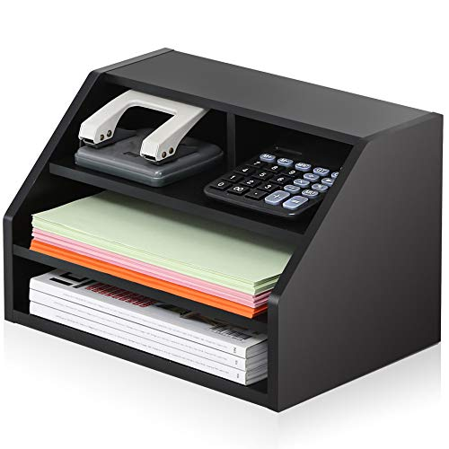 - FITUEYES Wood Desktop Suppies Organizer Black 2-Way Usage for Home and Office File Holder with Letter Tray