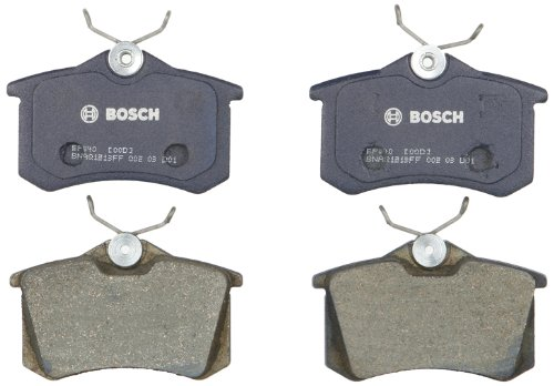 Bosch BP340 QuietCast Premium Semi-Metallic Disc Brake Pad Set For: Audi A3, A4, A6, A8, Allroad, Quattro, RS6, S4, S6, S8, TT; Peugeot; Volkswagen: Beetle, Cabrio, Corrado, Golf, Jetta, Passat, Rear ()