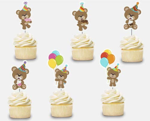 (Teddy Bear Birthday Cupcake Toppers 12 pcs, Cake Picks Party Supplies Decoration, Boy Girl Baby Shower Themed Celebration)