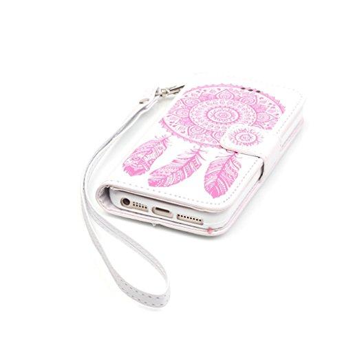 Trumpshop Smartphone Carcasa Funda Protección para Apple iPhone 6/6s 4.7 + Blanco y Púrpura + PU Cuer Caja Protector con Función de Soporte Ranuras para Tarjetas Crédito Choque Absorción + 3 regalos Blanco y Rosa