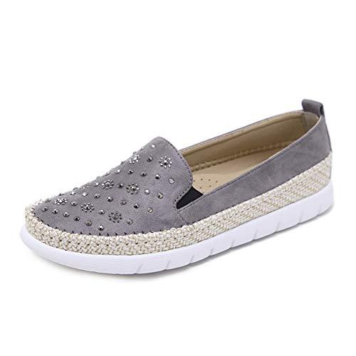 Espadrilles Shoes Zpl À Mocassins Pour La Chaussures Daim Cuir Mocassins Gris Femme En Basse Mode Uq7wqaf
