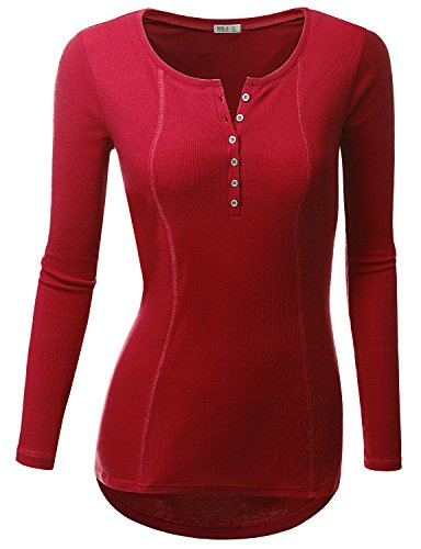 Doublju Womens Basic Casual Long Sleeve Thermal Henley T-Shirt BURGUNDY 3XL